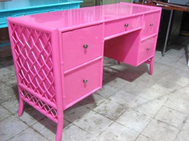 American Lacquered Bamboo Lattice  Desk, Writting Table