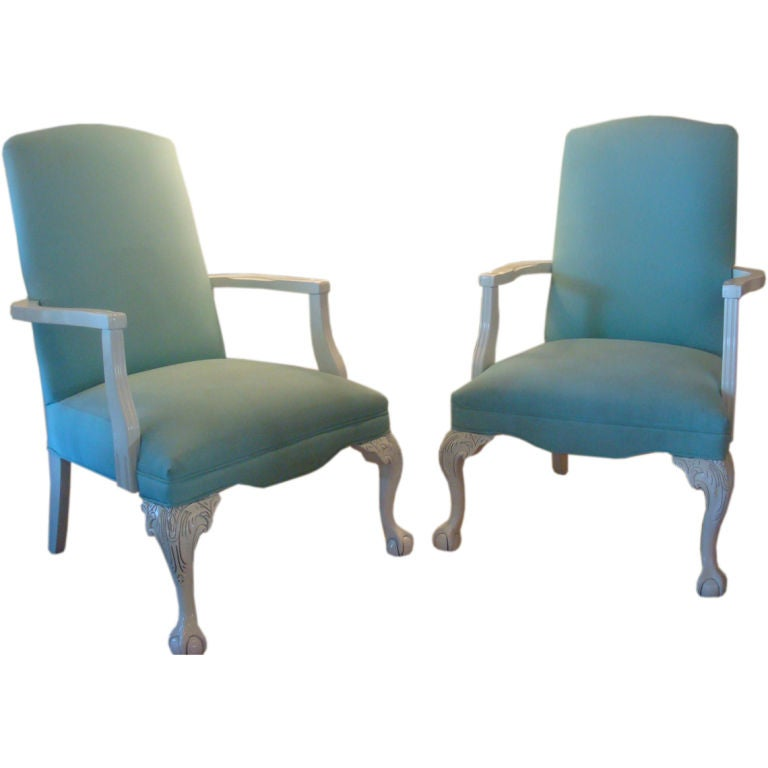 Pair Of Ball And Claw Foot Arm Chairs At 1stdibs