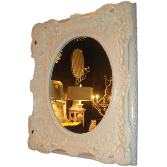 White lacquered baroque style mirror at 1stdibs for White baroque style mirror
