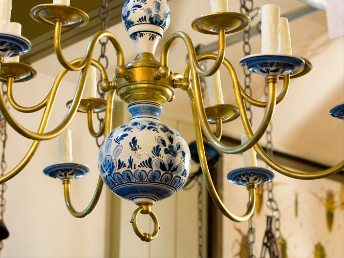Unusual Delft Chandelier With 6 Arms And 12 Lights At 1stdibs