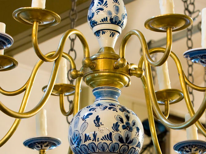 Vintage Delft Chandelier For 2