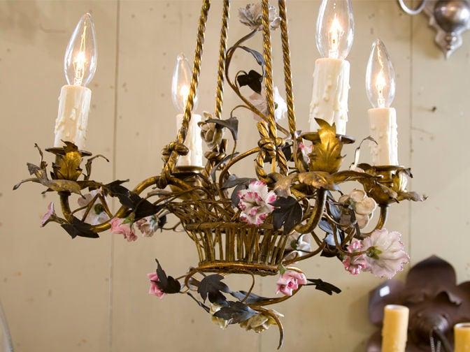 Polychrome Italian Brass Chandelier With Porcelain Flowers