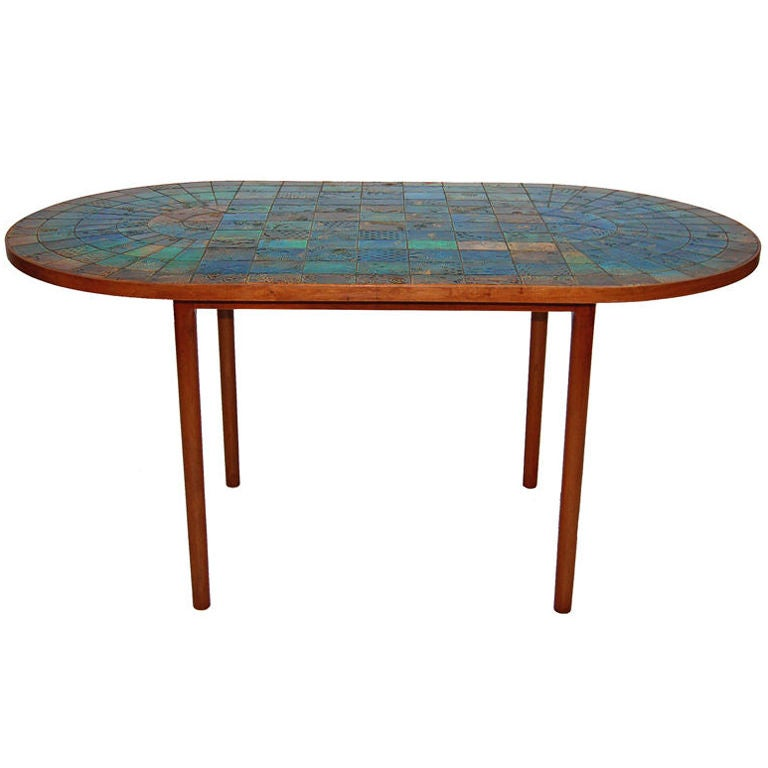 large cermaic tile top dining table by bjorn wiinblad at 1stdibs