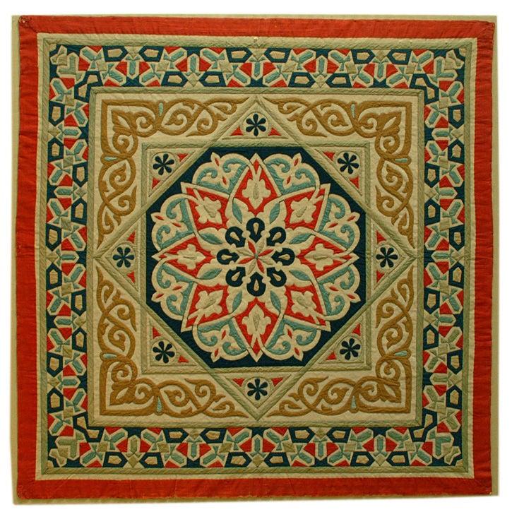 Fine Antique Egyptian Applique Square Textile