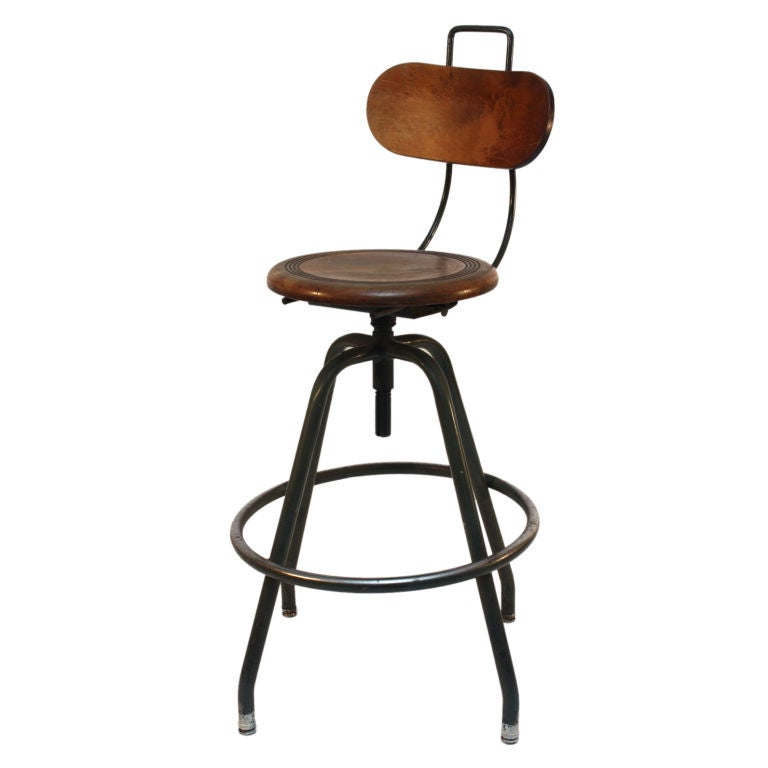 Swivel Industrial Stool at 1stdibs : XXXmetalwoodindustrialswivelchaird1 from www.1stdibs.com size 768 x 768 jpeg 26kB