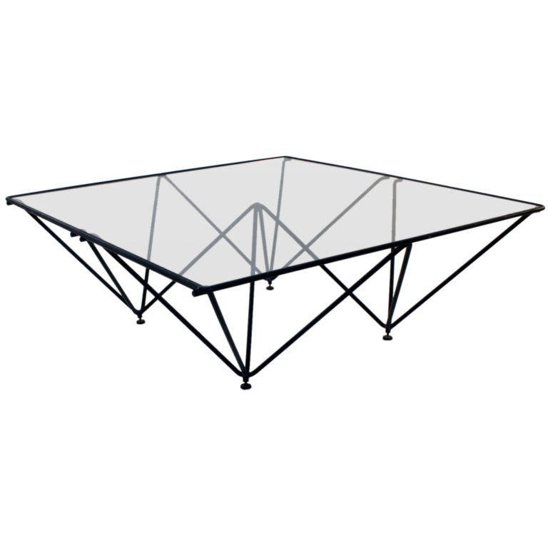 Glass Top Coffee Table With Iron Base: Architectural Iron Base Glass Top Coffee Table By Paola