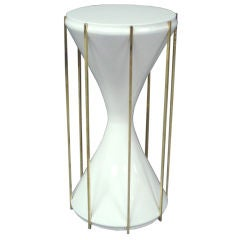 Lacquered Hourglass Pedestal Side Table