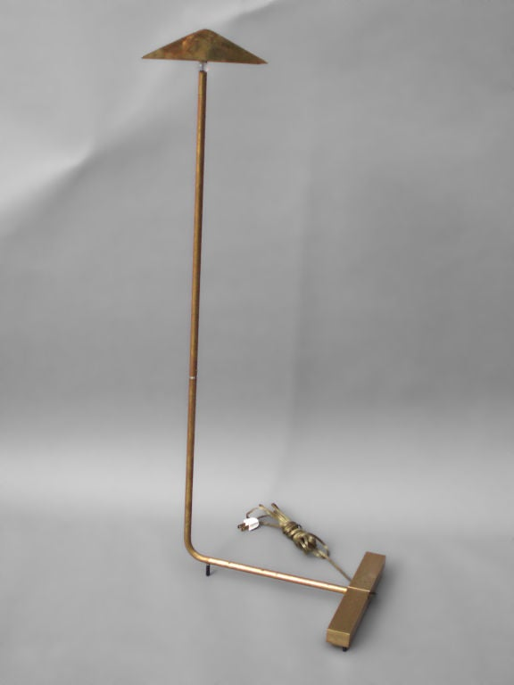 American Brass Swivel Head and Shaft Floor Lamp by Cedric Hartman For Sale