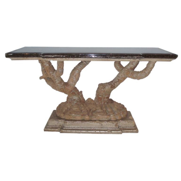 Carved Tree Trunk Base Console Table In Style Of James