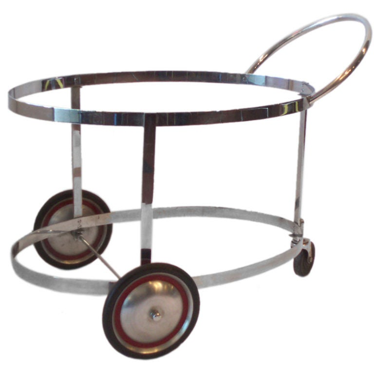 Moderne Chrome Drinks Cart in the Style of Gilbert Rohde for Troy Sunshade For Sale