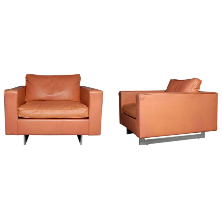 rare pair of jens risom leather lounge chairs at 1stdibs