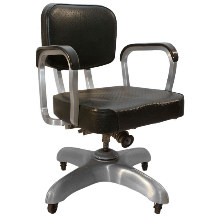 Art Deco Industrial Aluminum swivel adjustable desk chair at 1stdibs