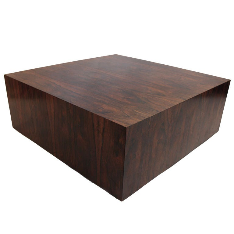 Rosewood Cube Coffee Table Attributed To Milo Baughman At 1stdibs