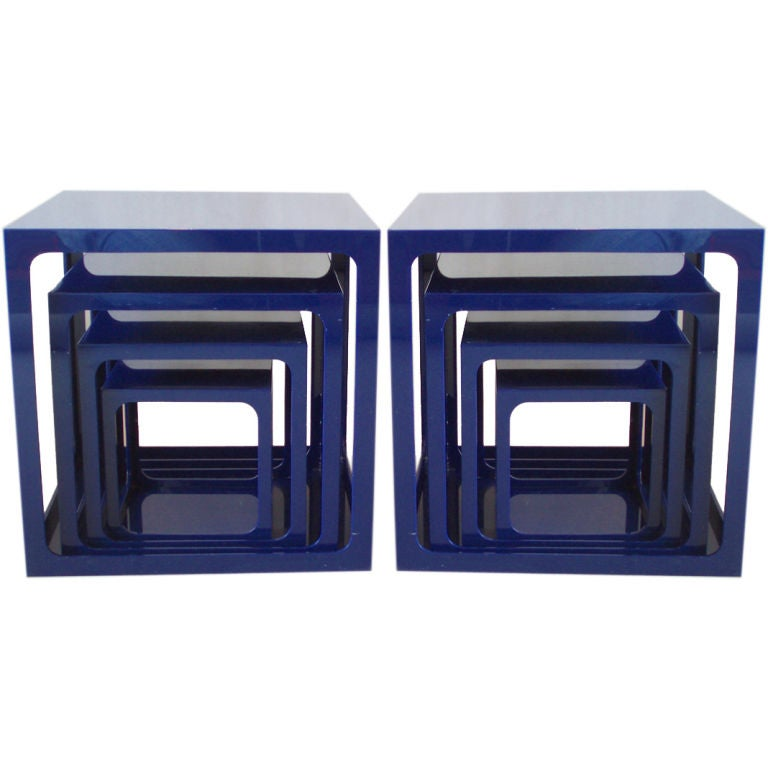 Pair Of Blue Acrylic Nesting Tables By Alessandro Albrizzi 1