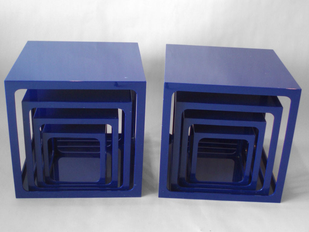 Pair Of Blue Acrylic Nesting Tables By Alessandro Albrizzi 2