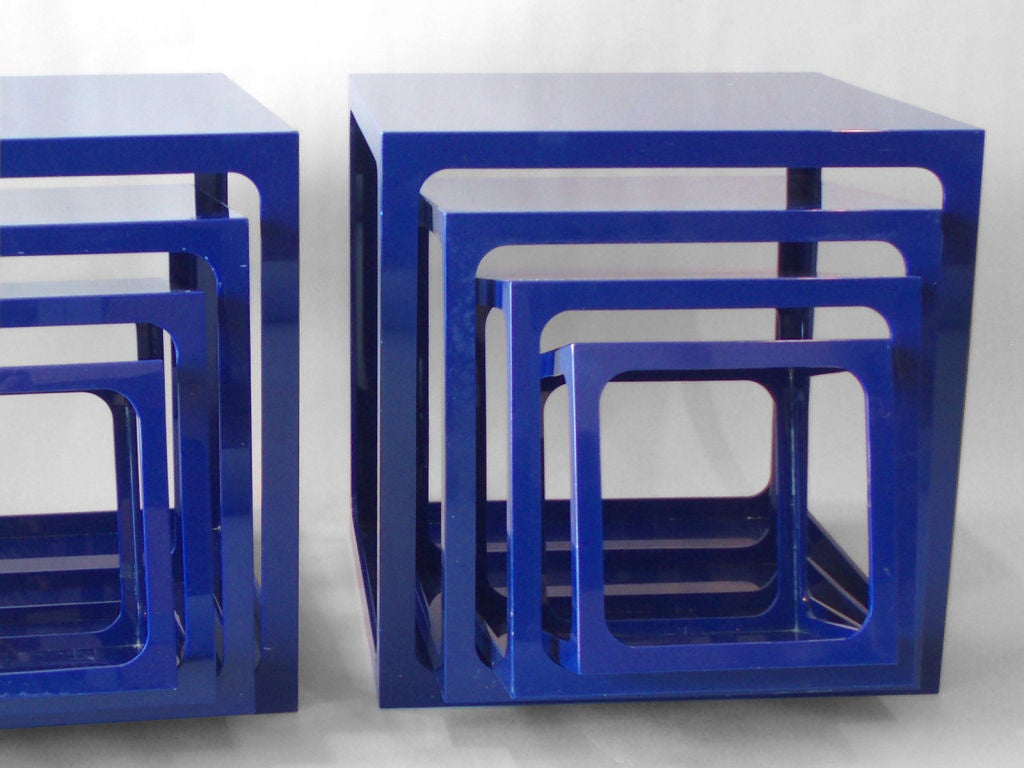 Pair Of Blue Acrylic Nesting Tables By Alessandro Albrizzi 3