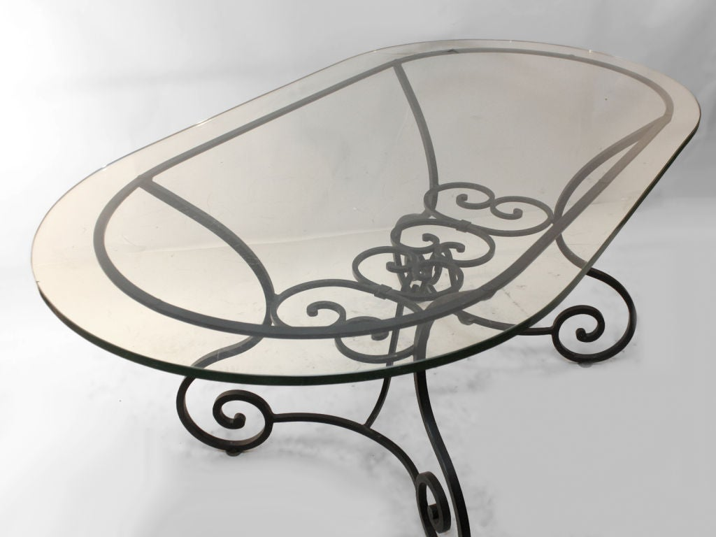 Large Plate Glass Top Oval Indoor Outdoor Garden Table At