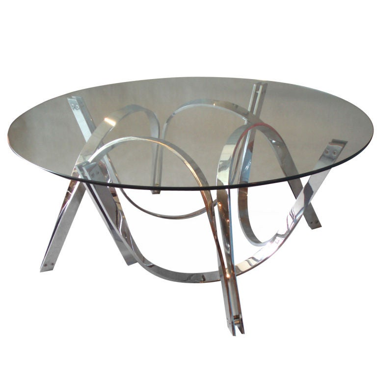Glass Coffee Table Chrome Base: Chrome Puzzle Base Glass Top Cocktail Table By Roger