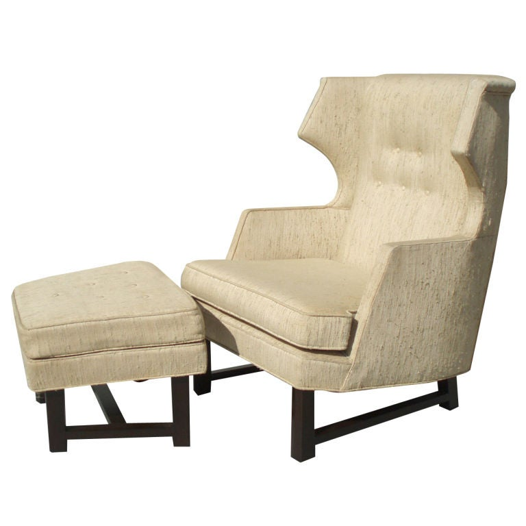 gentleman 39 s reading chair with ottoman in the style of wormley at 1stdibs. Black Bedroom Furniture Sets. Home Design Ideas