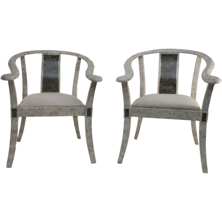 Pair Maitland Smith Chinese style arm chairs