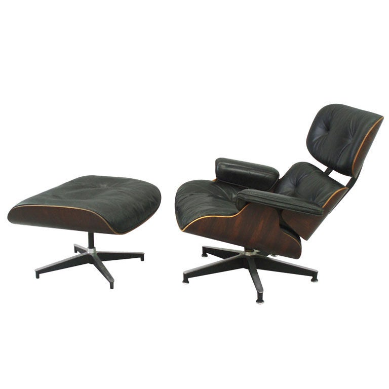 Eames Rosewood Shell Black Leather Lounge Chair And Ottoman At 1stdibs