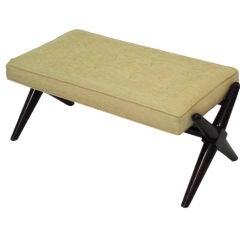 Walnut Frame Upholstered Bench by Robsjohn-Gibbings