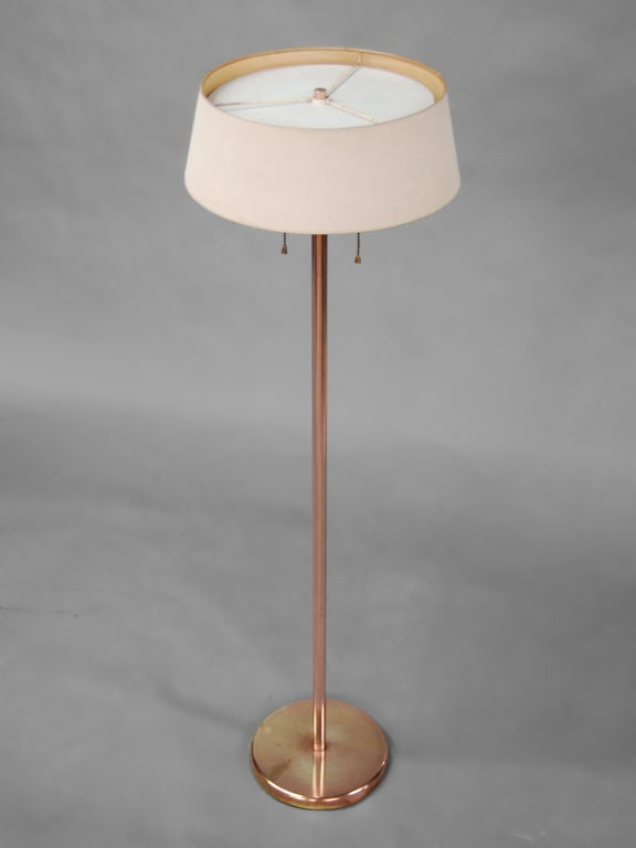 rare copper reading floor lamp by nessen at 1stdibs. Black Bedroom Furniture Sets. Home Design Ideas