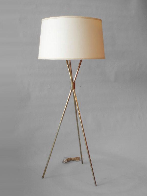 Brass Tripod Floor Lamp by Robsjohn-Gibbings for Hansen Co. at 1stdibs
