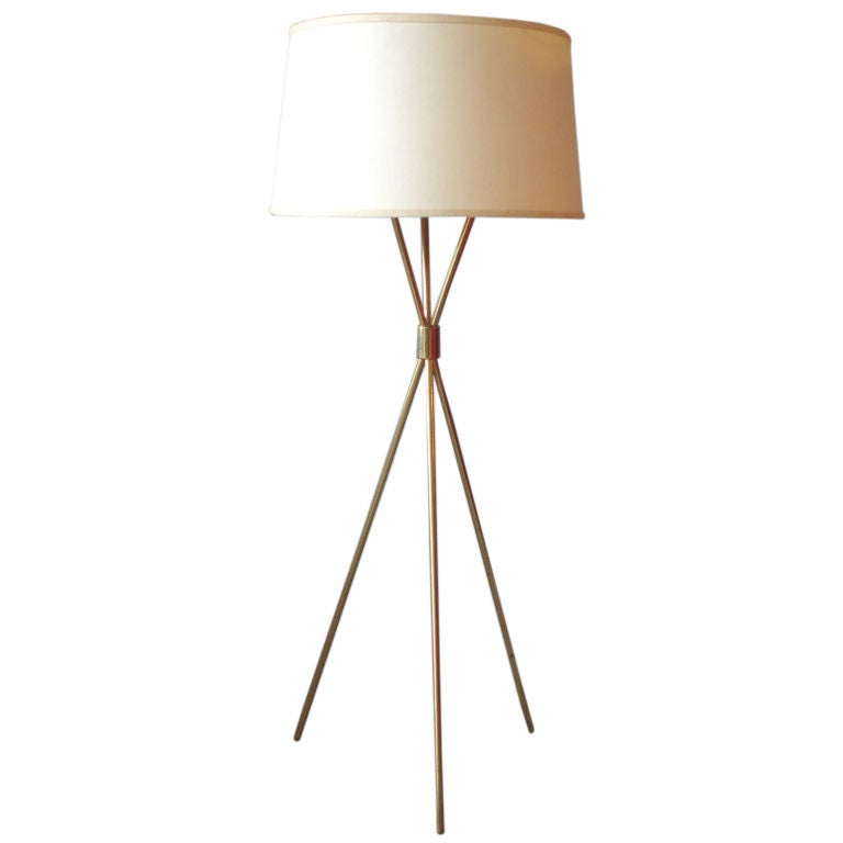 Brass Tripod Floor Lamp by Robsjohn-Gibbings for Hansen Co. at 1stdibs