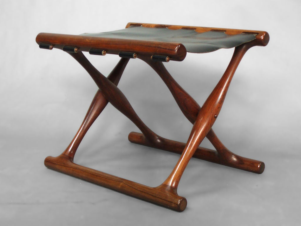 Rosewood And Leather Fold Up Egyptian Stool At 1stdibs