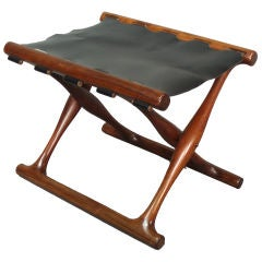 Rosewood and Leather Fold-up Egyptian Stool