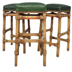 Four California Leather Top Barstools by Monterey Furniture