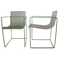 Pair of Metal Lawn Lounge Chairs