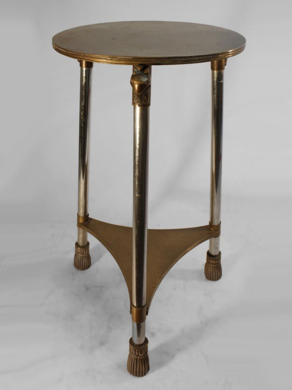 Chrome And Brass Art Deco Taboret At 1stdibs
