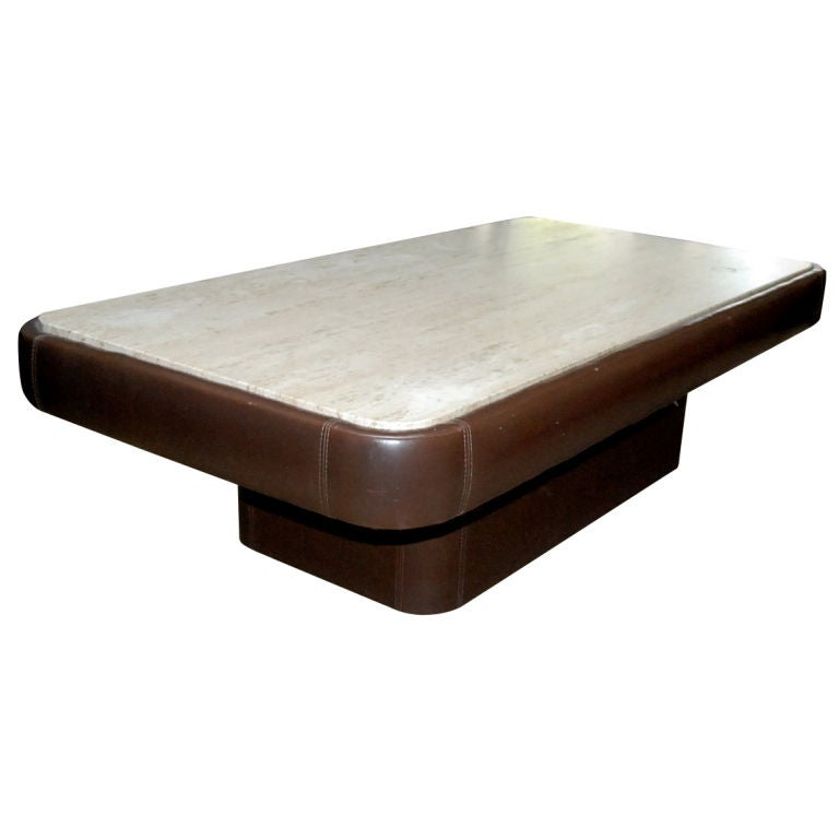 1960 39 S French Leather Coffee Table With Travertine Top At 1stdibs