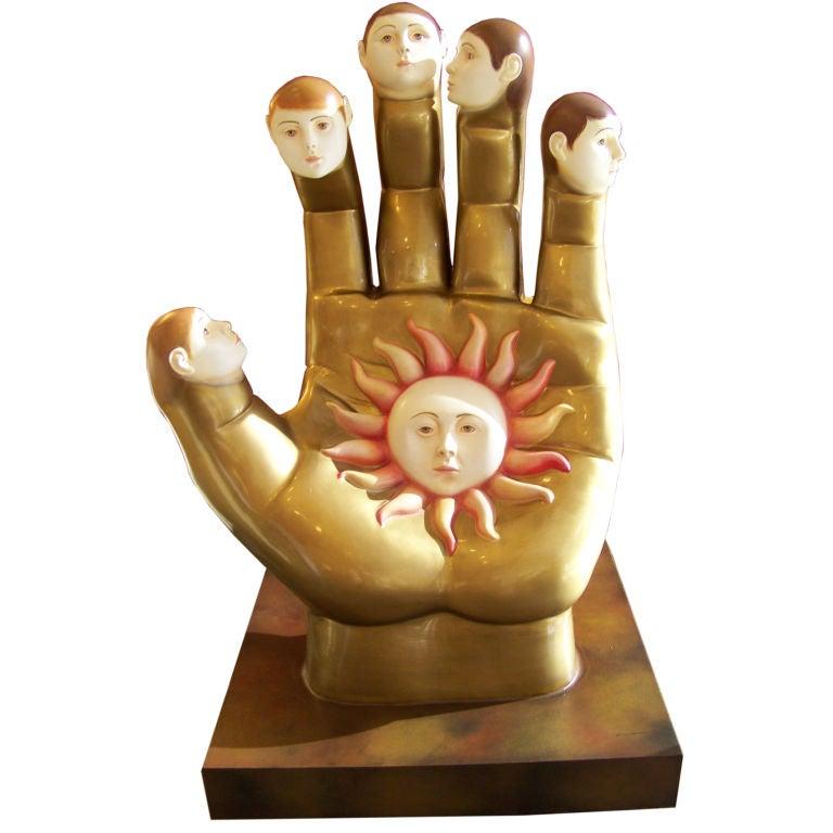 Quot tall fiberglass hand sculpture by sergio bustamante