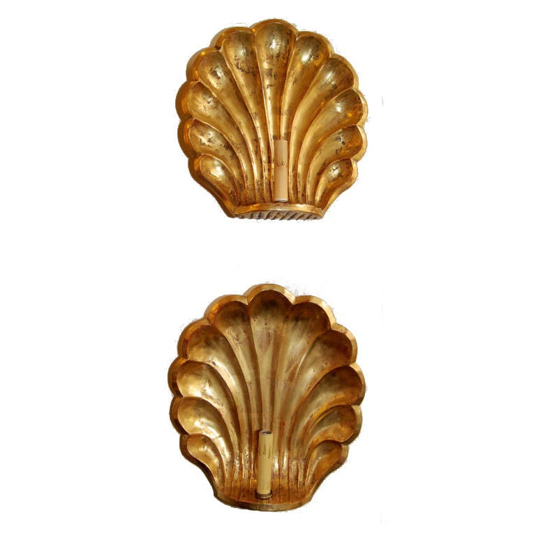 Pair of 22-Karat Gold Leaf Wall Sconces For Sale