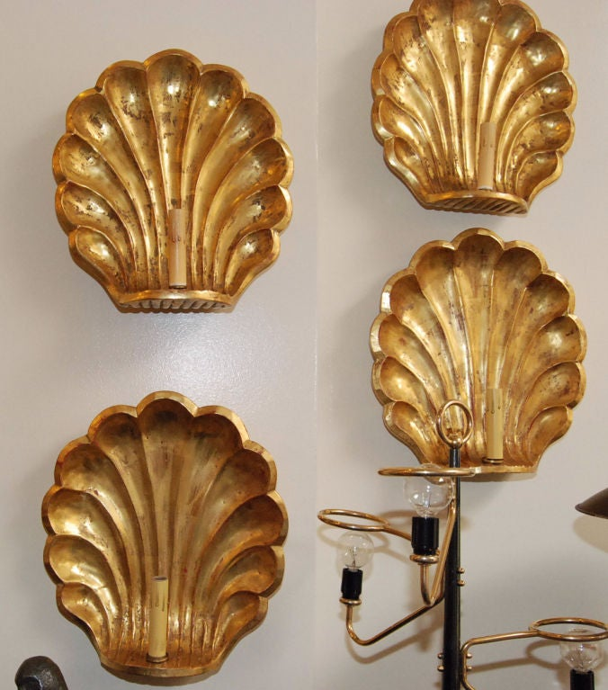 Mid-Century Modern Pair of 22-Karat Gold Leaf Wall Sconces For Sale