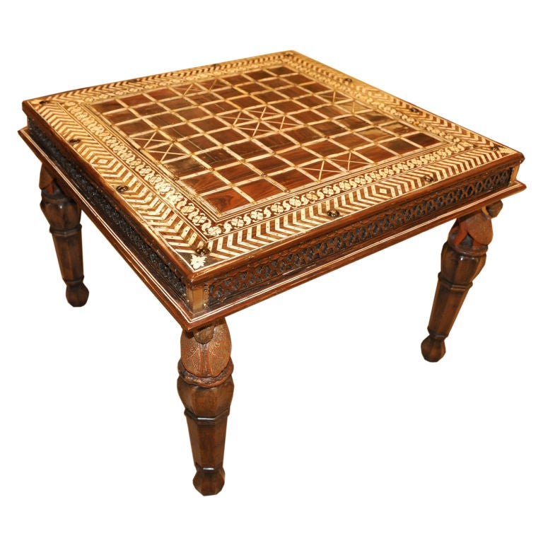 An Indian Rosewood And Ivory Hand Inlaid Low Table 19th Century At 1stdibs