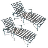 Pair of Iron Chaise Lounges