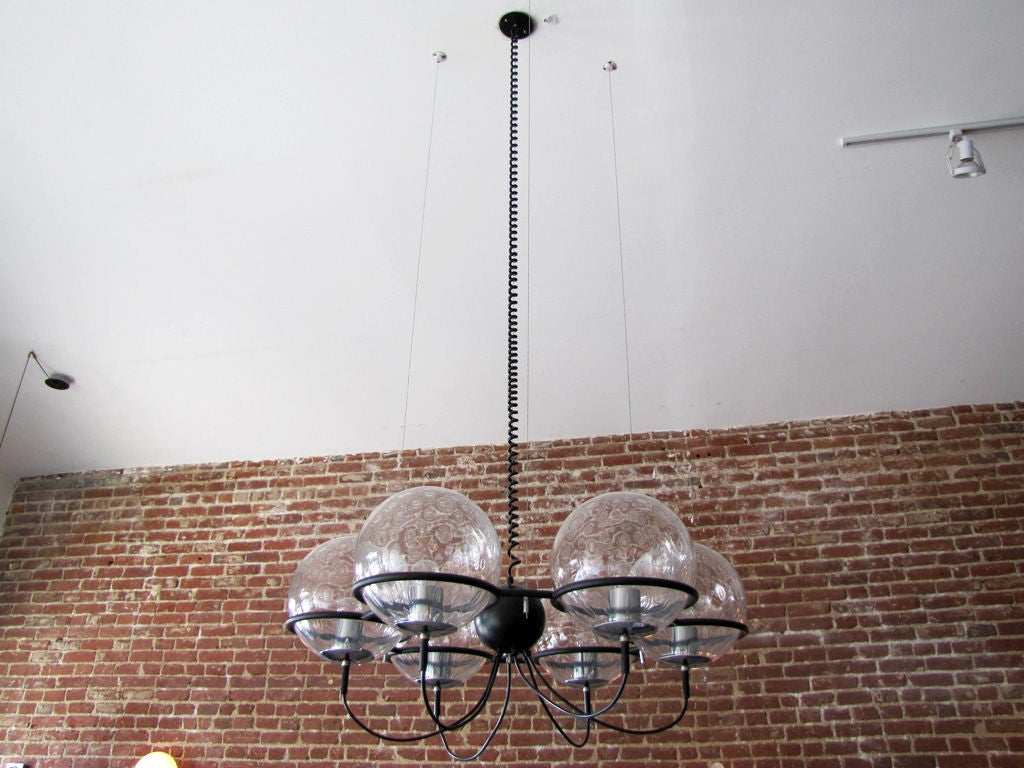 Monumental RAAK of Holland six globe chandelier with 10in. blown 'bubble' glass globes on a suspended ring, current drop 65in., marked.