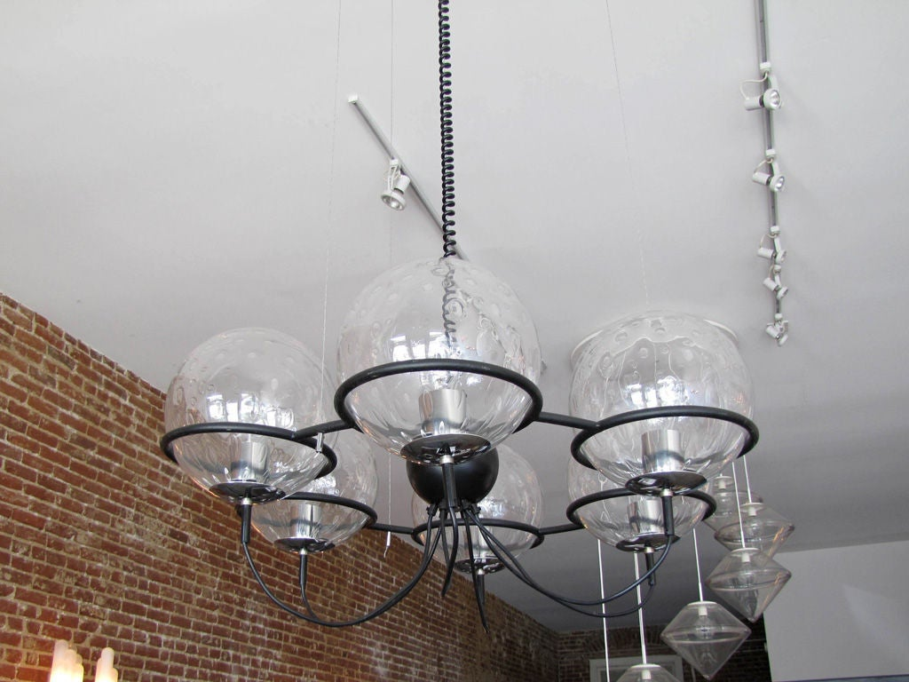 Space Age RAAK, Saturnus, Six Globe Chandelier For Sale