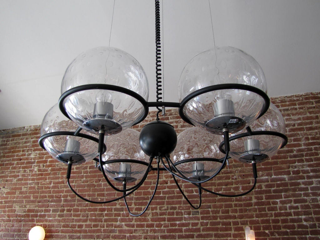 Dutch RAAK, Saturnus, Six Globe Chandelier For Sale