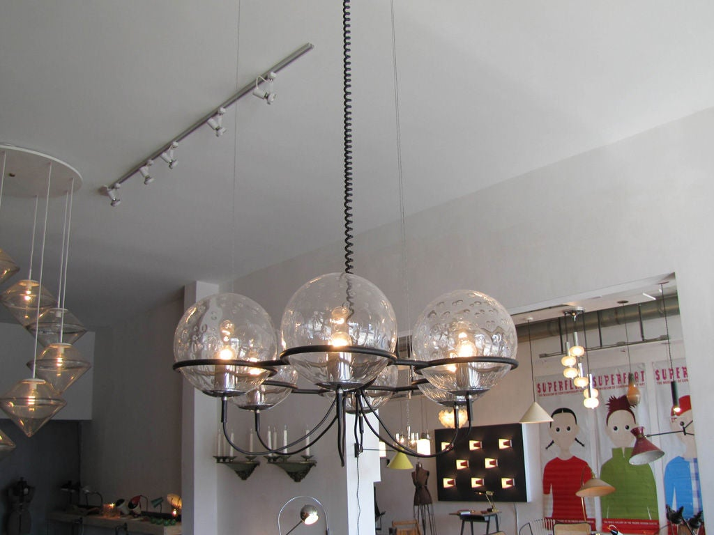 Enameled RAAK, Saturnus, Six Globe Chandelier For Sale