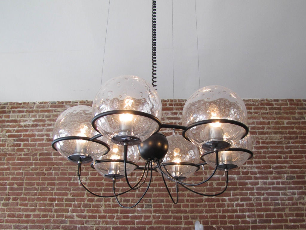 Mid-20th Century RAAK, Saturnus, Six Globe Chandelier For Sale