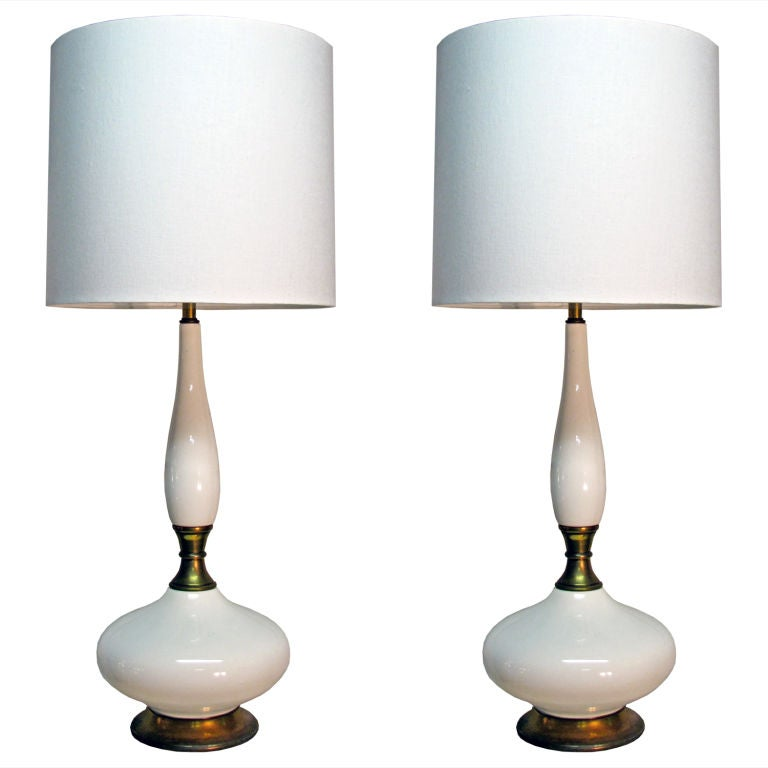 pair of tall ceramic table lamps at 1stdibs