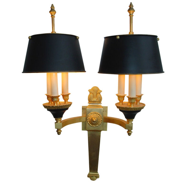 French Empire Gilt Bronze Single Sconce with  Black Metal Shades