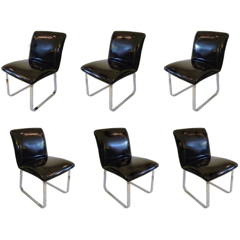 Set of six patent leather and chrome dining chairs at 1stdibs for Leather and chrome dining chairs