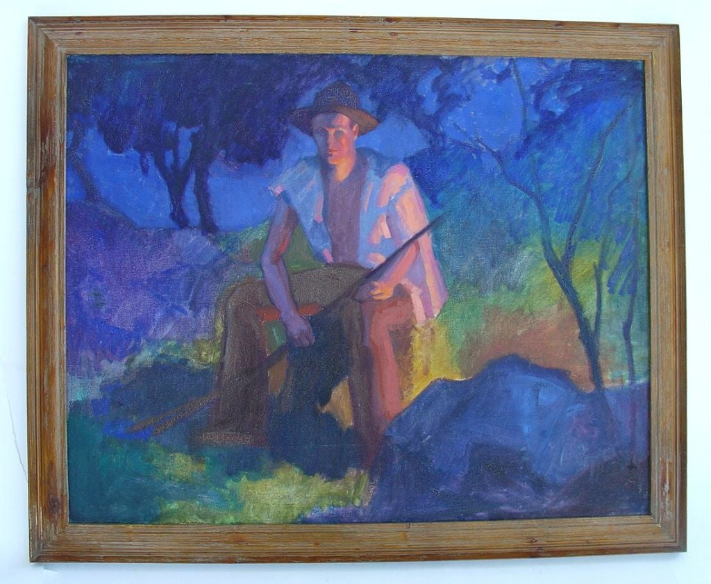 Dune Worker by Robert Wicox. Wilcox a graduate of the Art Institute of Chicago was was a commercial artist. He work focused on figures and landscapes of the Michigan am<br />