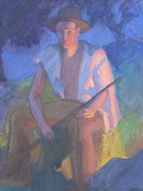 American Painting by WPA  Artist Robert Allen Wilcox For Sale